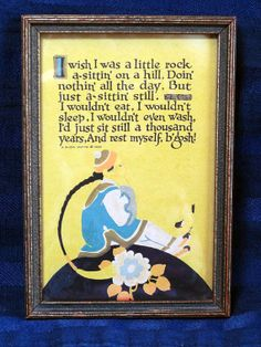 1925 BUZZA MOTTO Print Poem I wish I was a little rock, from CurioCabinet, $16.00