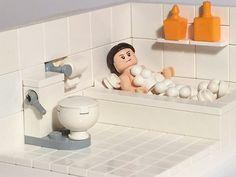 Time for a relaxing bubble bath., for a relaxing bubble bath. Gotta love that toilet! Lego Modular, Lego Design, Lego Bathroom, Bolo Lego, Lego Furniture, Minecraft Furniture, Furniture Ideas, Lego Activities, Lego Craft