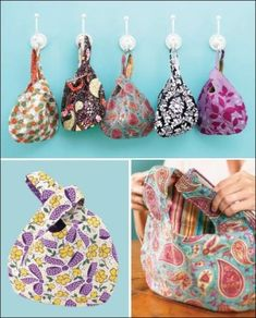 These are super cute.  Free Japanese Knot Bag Pattern