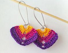 Dark Violet Fuchsia Yellow Triangle Crochet Earrings