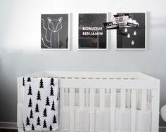 little spaces: Benjamin's nursery / f blog - fawn black and white nursery