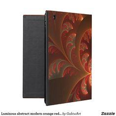 Luminous abstract modern orange red Fractal iPad Folio Case