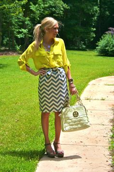 chevron skirt and a bright blouse