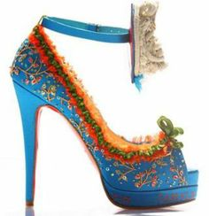 CHRISTIAN LOUBOUTIN blue marie antionette shoes  high heels