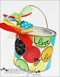 Fun way to decorate up a paint can! Made by Jaclyn Miller with August's Studio AE stamp set from TechniqueTuesday.com.