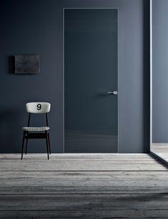 grey walls and glass door