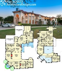 High Quality Architectural Designs Luxury House Plan 36205TX Gives You Almost 7,000 Sq.  Ft. And A