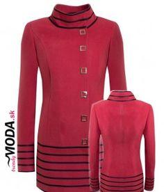 Originálny a nadčasový dámsky zimný kabát červenej farby so štepovanými pásmi z imitácie kože.-trendymoda.sk