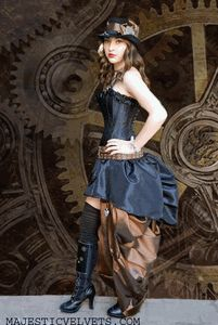 Black Steampunk Saloon Corset with Double Bustle Skirt