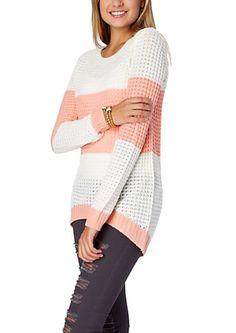 image of Peach & White Colorblock Boyfriend Crewneck Waffle Sweater