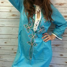 Amazing cotton vintage embroidered kaftan Gorgeous kaftan in a pretty turquoise with green and print embroidery highlighted by white edging and ties Bust 20' Waist 20' Length 55' Measurements taken flat Good vintage condition Vintage Dresses Maxi