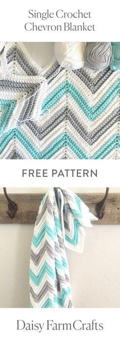 FREE PATTERN Single Crochet Chevron Blanket by Daisy Farm Crafts
