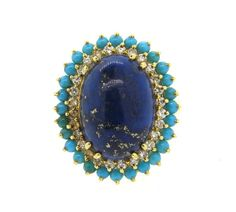 18k Gold Turquoise Lapis Diamond Ring Featured in our upcoming auction on November 2, 2015 11:00AM EST!