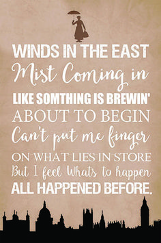 Mary Poppins Winds in the East Disney inspired quote poster art print