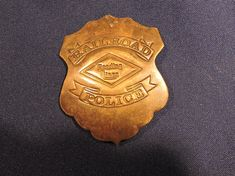 Reading Lines Railroad Police Brass Badge RR Train Embossed Shield Badge Porsche Logo, Tins, Gifts For Him, Badge, Vintage Items, Police, Buy And Sell, Brass, Unisex