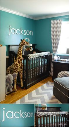 Project Nursery - Teal and grey chevron giraffe nursery