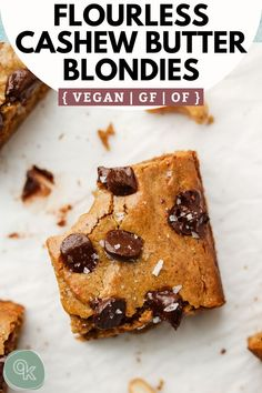 These Cashew Butter Blondies are thick, chewy and made with just 7 simple ingredients! The perfect healthy dessert for parties, valentines day, girls night in or just for when you're feeling like something sweet. Vegan, gluten free and oil free. Healthy Vegan Desserts, Vegan Treats, Gluten Free Desserts, Vegan Gluten Free, Vegetarian Sweets, Vegan Recipes, Dessert Party, Vegan Bar, Cashew Butter
