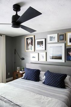 A Calm Bedroom With Modern Black Ceiling Fan