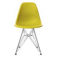 Vitra 440022000134 Stuhl DSR Eames Plastic Sidechair Gestell Verchromt senf