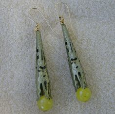 Brass Cone Earrings  Yellow Faceted Glass Beads by JewelryArtistry