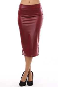 Azule Women's Below the Knee Pencil Skirt for Office Wear - Made in USA BURGUNDY M