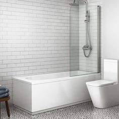 1600mm Straight Bath & Screen - Round Design (Excludes Panels)