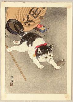 Ohara Koson: Cat Catching Mouse - Artelino