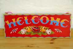 Welcome sign. Painted on a solid piece of wood in traditional narrowboat font. Measures 49 cms x 18 cms. Collection from Nicky Sharp Reclaimed Interiors – Tring. This and much more is available from Nicky Sharp Reclaimed Interiors - Tring. Canal Boat Art, Indian Diy, Boat Painting, Narrowboat, Tug Boats, Just Do It, Decorative Items, Folk Art, Colours