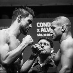 Carlos Condit vs Thiago Alves staredown : if you love #MMA, you'll love the #UFC & #MixedMartialArts inspired fashion at CageCult: http://cagecult.com/mma