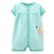 Carter's Girls Light Green Striped Romper with Flamingo Embroidery