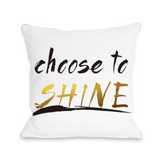 Choose to Shine - White Black Gold Pillow by OBC x Multicolor, One Bella Casa(Polyester, Graphic Print) Gold Pillows, Throw Pillows, Black White Gold, American Decor, Home Decor Trends, Shabby Chic Furniture, Graphic Prints, Floor Pillows, Color Pop