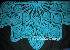 Blue Mint tessellating pineapples shawl for cool evening strolls  | rsislandcrafts - Accessories on ArtFire