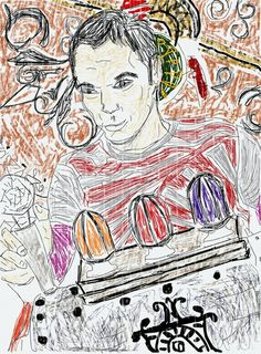 Drawing of Sheldon in his time machine.#Pin By:Pinterest++ for iPad#