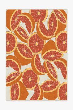Machine Washable Rugs, Tropical Design, Black Rug, Orange Rugs, Blood Orange, My New Room, Natural Rug, Vivid Colors, Trendy Colors