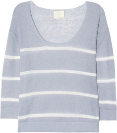 Band Of Outsiders Striped Fine Knit Sweater in Blue (Light blue) - Lyst