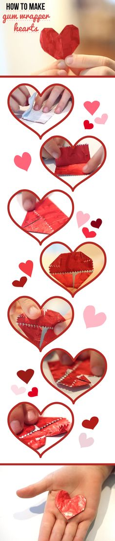 Simple! Gum wrapper hearts make great additions to any Valentine's Day card and gift! http://www.ehow.com/how_12100174_make-gum-wrapper-hearts.html?utm_source=pinterest.com&utm_medium=referral&utm_content=inline&utm_campaign=fanpage