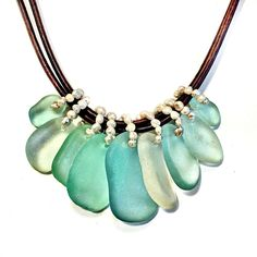 Opal Necklace, Turquoise Necklace, Leather Cord, Brown Leather, Tahitian Pearls, Shell Necklaces, Blue Opal, Mykonos, Sea Glass