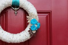 Aqua and brown. A perfect Winter wreath that will work from Thanksgiving 'til January!