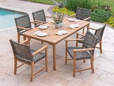 Shop for Hampton Outdoor Wicker and Solid Teak 7 Pc. Dining Set with 71 x 39 in. Teak Table, and other Outdoor/Patio Sets at Chair King in Houston, TX. Wicker Dining Set, Teak Dining Chairs, Outdoor Dining Set, Patio Dining, Outdoor Spaces, Outdoor Decor, Dining Table, Teak Table, Outdoor Pergola