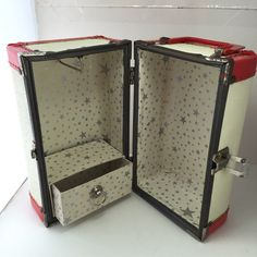Vintage Doll Suitcase Small DollTrunk Red & Cream Doll by ravished