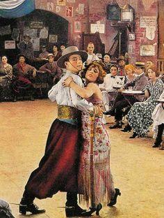 Rodolfo Valentino bailando tango en la pelicula muda Los Cuatro Jinetes del Apocalipsis (1921.-).- Su fama fue tal que popularizo al tango en Europa.-