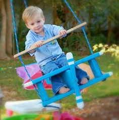 Airplane Swing, Tree Swing, Porch Swing, Child Swing, Wooden Toy, Airplane…