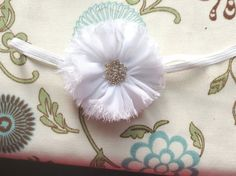 White Flower Headband Shabby Chiffon Flower Lace Elastic Headband baby blessing christening baptism wedding flower bridesmaid bride baby toddler infant child teen women