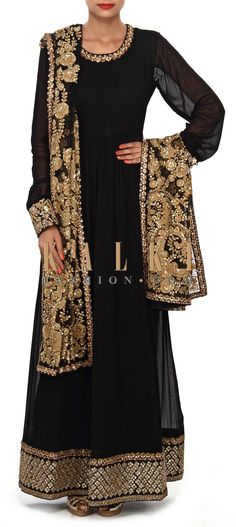 Buy Online from the link below. We ship worldwide (Free Shipping over US$100) Price- $899 Click Anywhere to Tag http://www.kalkifashion.com/black-anarkali-suit-embellished-in-sequin-and-thread-embroidery-only-on-kalki.html