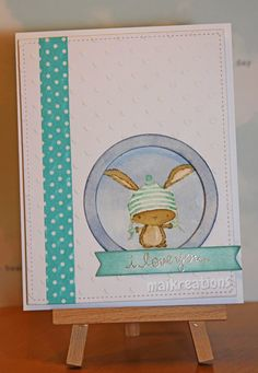 maikreations Watercolouring the Winter bunny from Purple Onion Designs with Distress Inks and markers