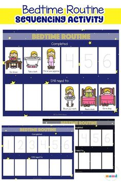 Free printable bedtime routine charts with a sequencing activity and sequencing cards to improve toddler sleep. This is suitable for toddlers, preschoolers and special needs children and makes night time easier. Sequencing activities for preschoolers pre- Bedtime Routine Printable, Bedtime Chart, Bedtime Routine Chart, Toddler Routine Chart, Toddler Chart, Sequencing Cards, Sequencing Activities, Baby Activites, Educational Activities