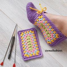 Diy Crafts - bennnn,Crochet-adi bennnn Crochet Projects Slippers Diger EMEL EviMay your day always be full of happiness, ladies. Crochet Slipper Pattern, Crochet Motif, Crochet Stitches, Baby Knitting Patterns, Knitting Designs, Crochet Patterns, Crochet Boots, Crochet Baby Booties, Diy Crafts Crochet