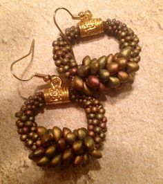 Beaded Kumihimo Earrings with lentil beads czech glass by Cordavi, $40.00