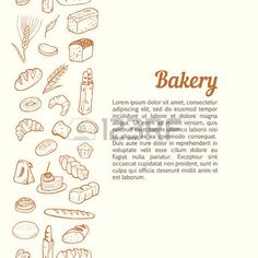 Vertical seamless background with hand drawn bakery sketch set photo