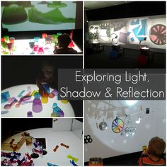 Reggio Light Play - an exploration of light, shadow & reflection Sensory Activities, Activities For Kids, Sensory Play, Reggio Emilia Approach, Overhead Projector, Projector Ideas, Inspired Learning, Shadow Play, Light Reflection